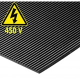 Black Rubber Electrical Safety Mat Max Working Voltage 450V
